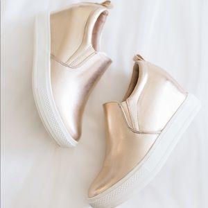 Hidden wedge rose gold sneakers